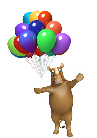 baloon: 3d rendered illustration of Rhino cartoon character with baloon Stock Photo