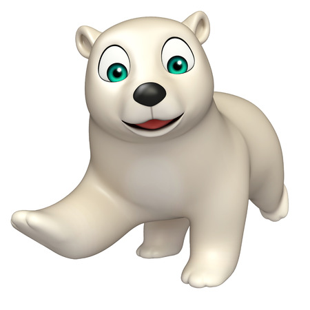hunny: 3d rendered illustration of running Polar bear cartoon character