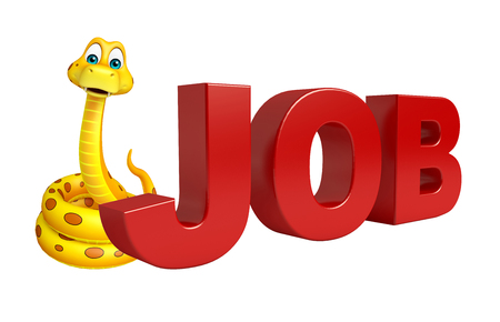 job hunting: 3d rendered illustration of Snake cartoon character with job sign Stock Photo