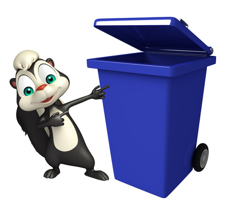 dustbin: 3d rendered illustration of Skunk cartoon character with dustbin