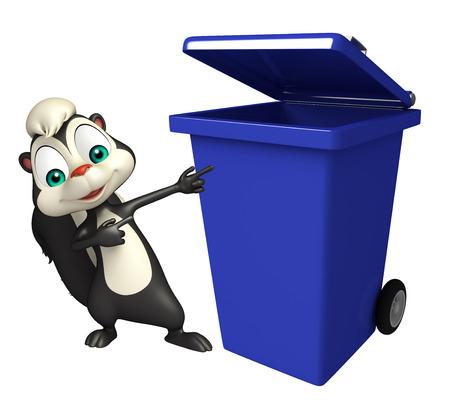 mofeta: 3d rindió la ilustración de personaje de dibujos animados de la mofeta con el cubo de basura Foto de archivo