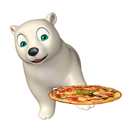 hunny: 3d rendered illustration of Polar bear cartoon character with pizza Stock Photo
