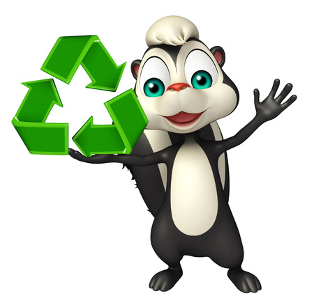skunk: 3d rendered illustration of Skunk cartoon character with recycle