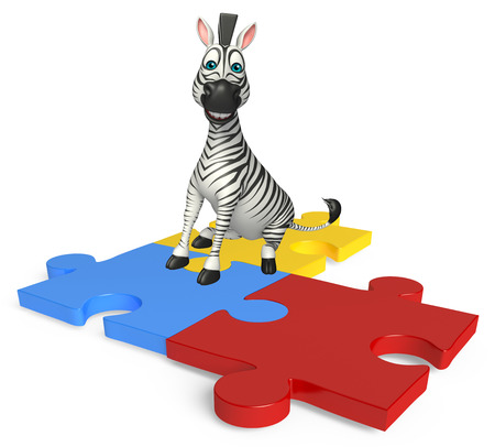 jig saw puzzle: 3d rendered illustration of Zebra cartoon character  with puzzle Stock Photo