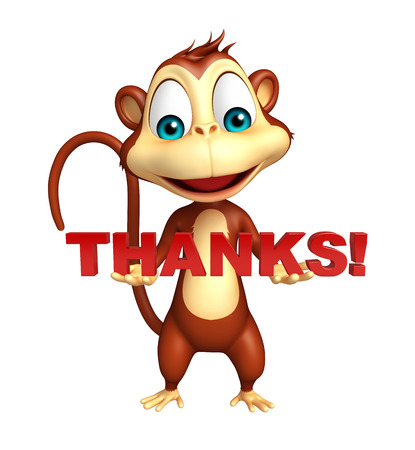 3d rendered illustration of Monkey cartoon character with thanks sign Stock Illustration - 53937128