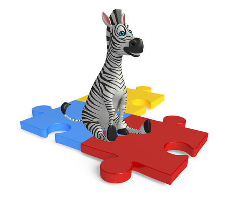jig saw puzzle: 3d rendered illustration of Zebra cartoon character with puzzle