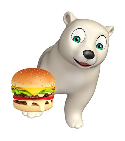 hunny: 3d rendered illustration of Polar bear cartoon character with burger Stock Photo