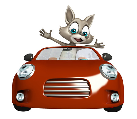 3d rendered illustration of Raccoon cartoon character with car