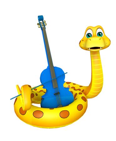 3d rindió la ilustración de personaje de dibujos animados de la serpiente con el violín