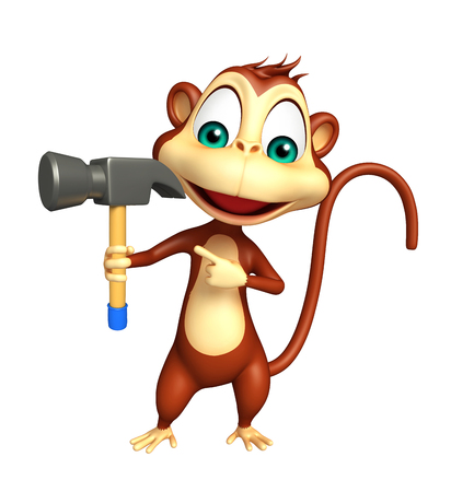 iron fun: 3d rendered illustration of Monkey cartoon character with hammer Stock Photo