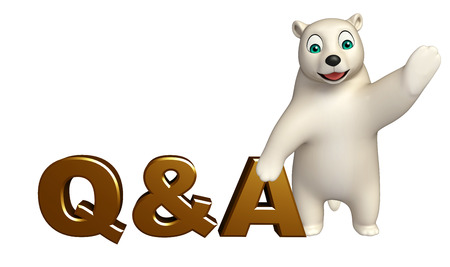 hunny: 3d rendered illustration of Polar bear cartoon character with Q%A sign Stock Photo