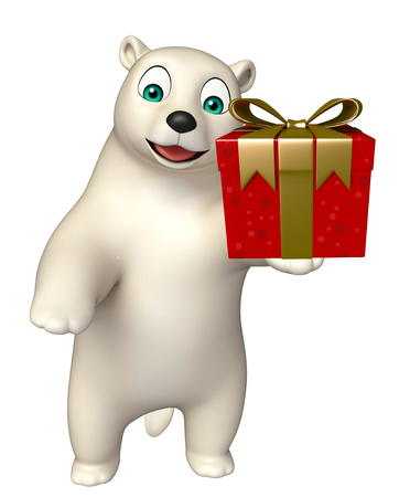 hunny: 3d rendered illustration of Polar bear cartoon character with giftbox Stock Photo