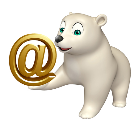 hunny: 3d rendered illustration of Polar bear cartoon character with at the rate sign