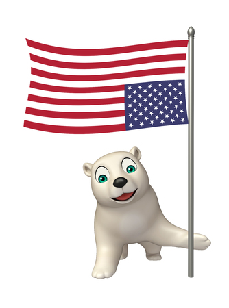 hunny: 3d rendered illustration of Polar bear cartoon character with flag Stock Photo
