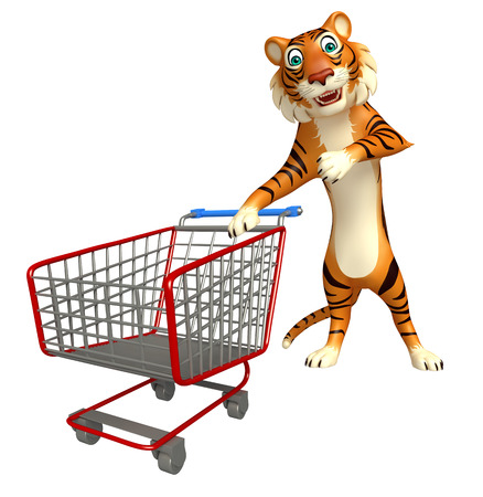 trolly: 3d rendered illustration of Tiger cartoon character with trolly Stock Photo