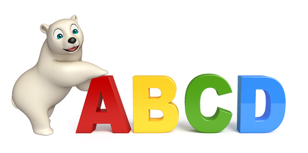 alphabetical order: 3d rendered illustration of Polar bear cartoon character with abcd sign