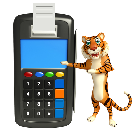 swipe: 3d rendered illustration of Tiger cartoon character with swipe machine