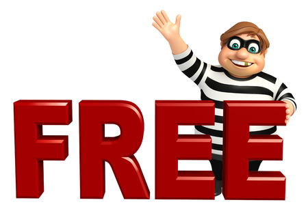 Thief with Free sign Stock Photo