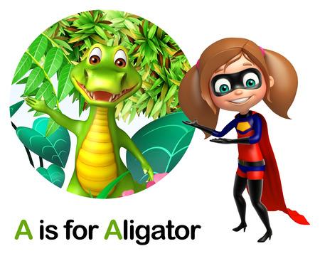 super girl: Super girl pointing Alligator Stock Photo