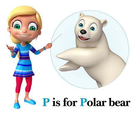 hunny: kid girl pointing Pollar bear