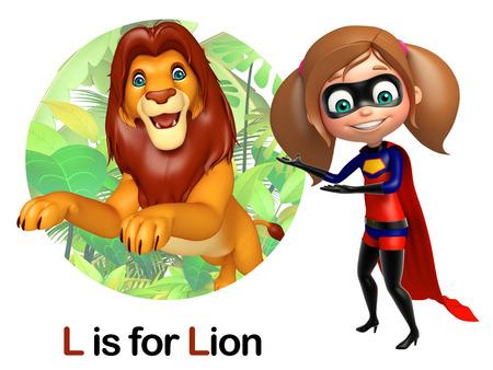 super girl: Super girl pointing Lion Stock Photo