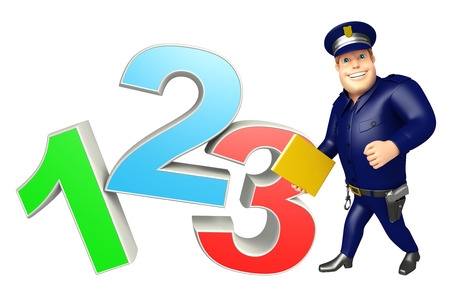 Police with 123 Sign Stock Photo