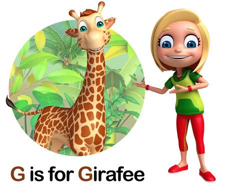 Kid girl pointing Girafee Stock Photo