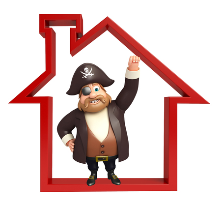 tricorne: Pirate with Home sign Stock Photo