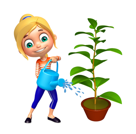 greenary: kid girl with Watering can and plant Stock Photo