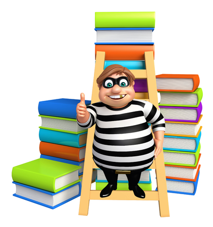 rob: Thief with Book stack & ladder