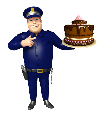 Police with Cake Stock Photo