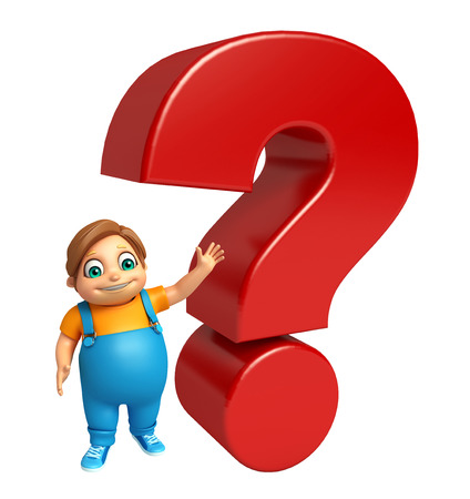 marca libros: kid boy with Question mark sign
