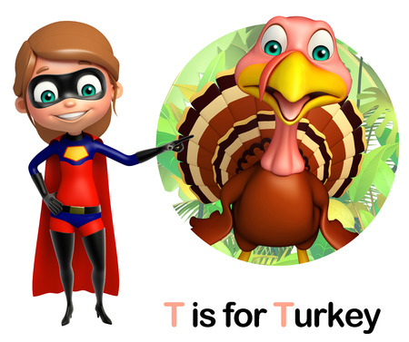 toonimal: super girl pointing Turkey