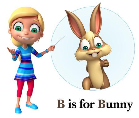 Kid girl pointing Bunny