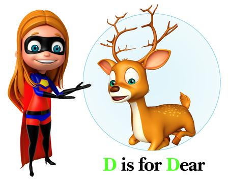 super girl: Super girl pointing Deer