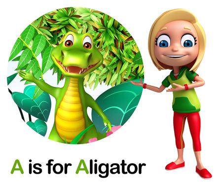 alligators: Kid girl pointing Alligator Stock Photo