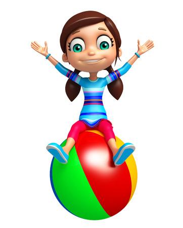 big ball: kid girl with Big ball