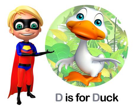 toonimal: Super boy pointing duck