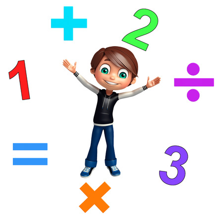 kid boy with math signs and digit Фото со стока