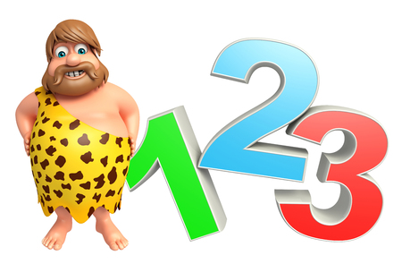paleolithic: Caveman with 123 sign