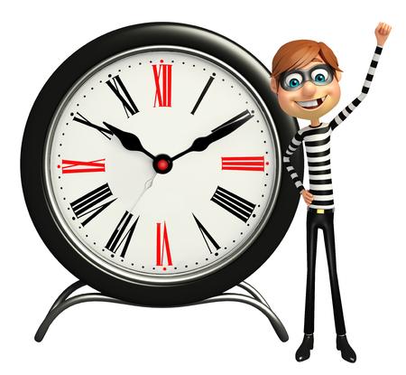 Thief with Clock Stock Photo