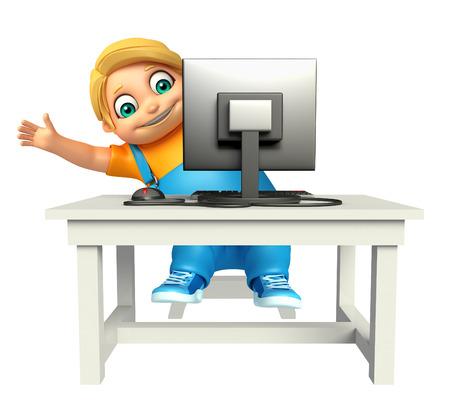 persona feliz: Chico niño con ordenador