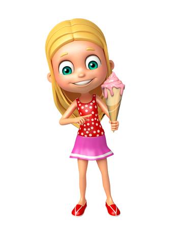 kid girl with Ice cream