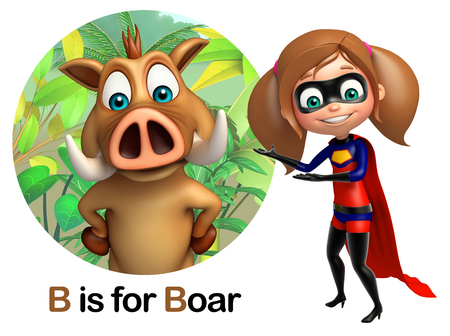 super girl: Super girl pointing Boar Stock Photo