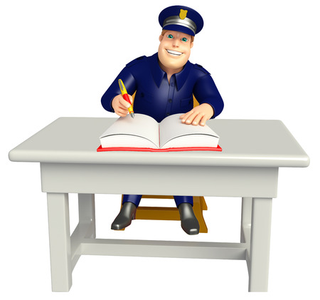 Police with Table chair and book Stock Photo