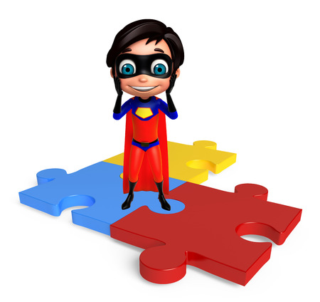 superboy: Superboy with Puzzle sign Stock Photo