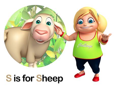 kid pointing: kid girl pointing Sheep Stock Photo