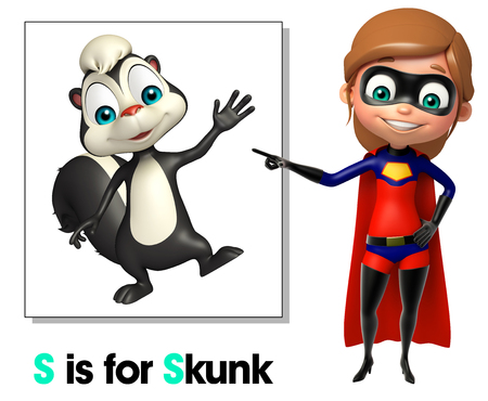 super girl: Super girl poiniting Skunk Stock Photo