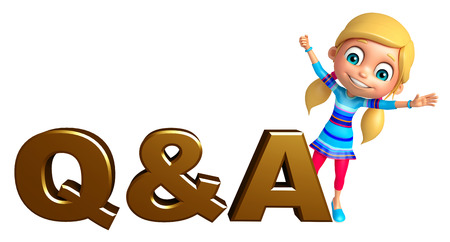 qa: kid girl with Q&A sign Stock Photo