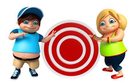 kid girl and kid boy with Dart board